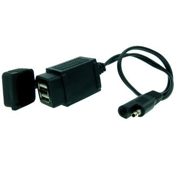 Weatherproof SAE to Dual Port USB Charger - 6 Inches